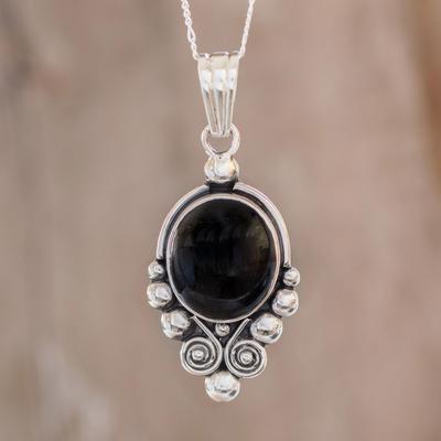 Black spinel pendant necklace, 'Praise Love' - Unique Sterling Silver Pendant Necklace