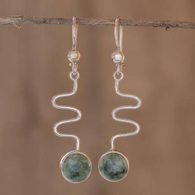 Jade dangle earrings, 'New Love' - Jade dangle earrings