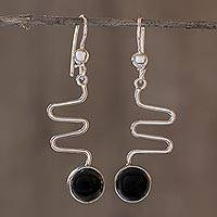 Black spinel dangle earrings, 'New Love' - Modern Sterling Silver Dangle Spinel Earrings