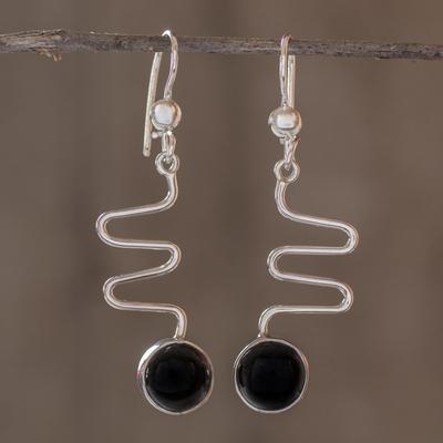 Black spinel dangle earrings, 'New Love' - Modern Sterling Silver Dangle Spinel Earrings