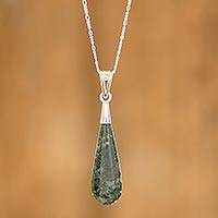 Jade pendant necklace, 'Jungle Dewdrop' - Sterling Silver Pendant Jade Necklace