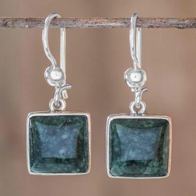 Jade dangle earrings, 'Love's Riches' - Handmade Sterling Silver Jade Dangle Earrings
