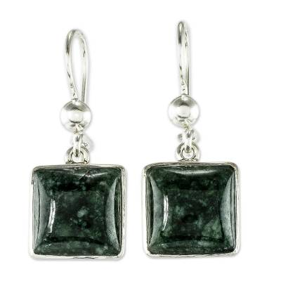 Jade dangle earrings, 'Love's Riches' - Handmade Sterling Silver Jade Dangle Earrings