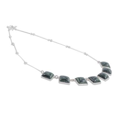 Jade pendant necklace, 'Love's Riches' - Fair Trade Sterling Silver 925 Jade Pendant Necklace