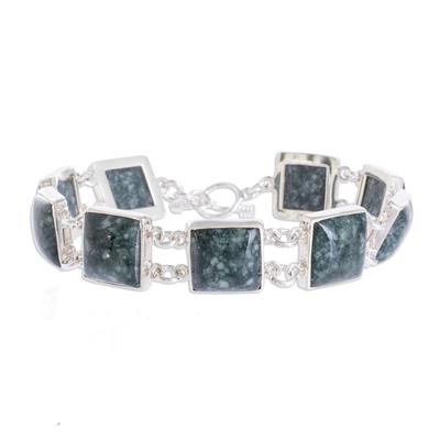 Jade link bracelet, 'Love's Riches' - Handmade Central American Sterling Silver Jade Link Bracelet