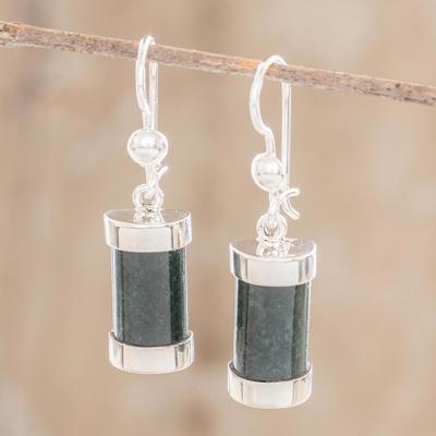Jade dangle earrings, 'Sweet Maya' - Good Luck Sterling Silver Dangle Jade Earrings