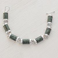 Jade link bracelet, 'Sweet Maya' - Handcrafted Good Luck Sterling Silver Link Jade Bracelet