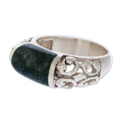 Jade domed ring,  'Sweet Maya' - Handcrafted Green Jade and .925 Sterling Silver Ring
