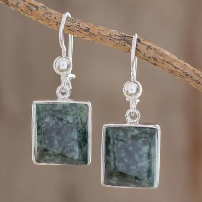 Jade dangle earrings, 'Love Immortal' - Handmade Sterling Silver Dangle Jade Earrings