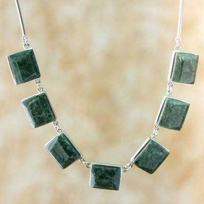 Jade pendant necklace, 'Love Immortal' - Handcrafted Central American Sterling Silver Jade Necklace