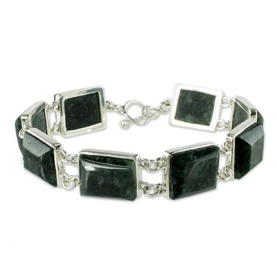 Jade link bracelet, 'Love Immortal' - Unique Sterling Silver Link Jade Bracelet