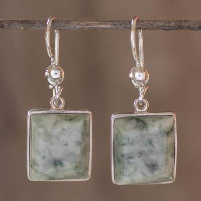 Jade dangle earrings, 'Maya Treasure' - Unique Central American Sterling Silver Dangle Jade Earrings