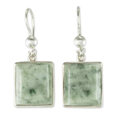Unique Central American Sterling Silver Dangle Jade Earrings