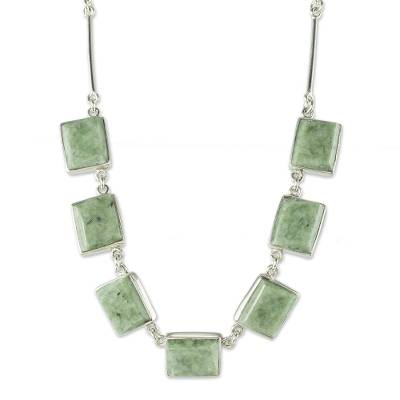 Jade pendant necklace, 'Maya Wisdom' - Good Luck Sterling Silver Pendant Jade Necklace