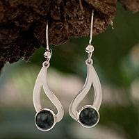 Jade dangle earrings, 'Glistening Rain' - Good Luck Sterling Silver Jade Dangle Earrings