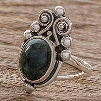 Jade cocktail ring, 'Praise Love' - Jade cocktail ring
