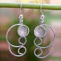 Lavender jade dangle earrings, 'Maya Treasure' - Jade Dangle Sterling Silver Earrings