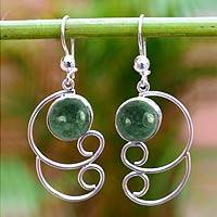 Jade dangle earrings, 'Maya Treasure' - Sterling Silver Dangle Jade Earrings