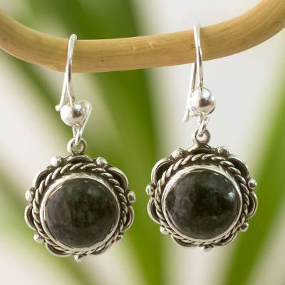 Jade dangle earrings, 'Antigua Sun' - Fair Trade Floral Sterling Silver Dangle Jade Earrings