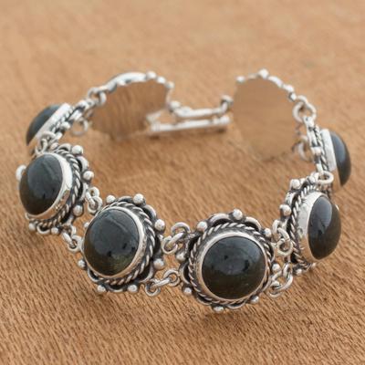 Jade link bracelet, 'Antigua Sun' - Hand Made Sterling Silver Link Jade Bracelet
