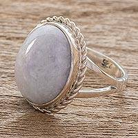Lavender jade cocktail ring, 'Eternal Love'