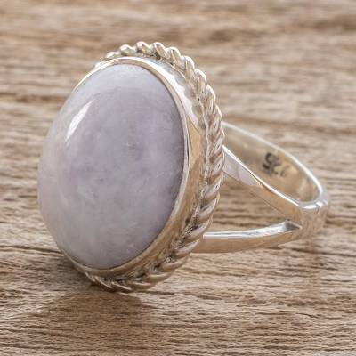 Lavender jade cocktail ring, 'Eternal Love' - Unique Sterling Silver Single Stone Jade Ring