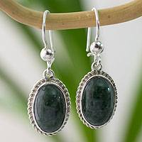 Jade dangle earrings, 'Eternal Love' - Artisan Crafted Good Luck Jade Dangle Earrings