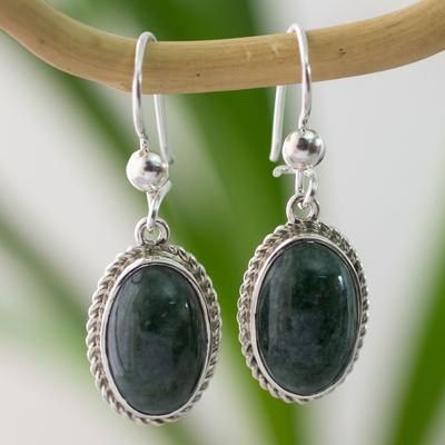 Jade dangle earrings, 'Eternal Love' - Artisan Crafted Good Luck Jade Dangle Earrings