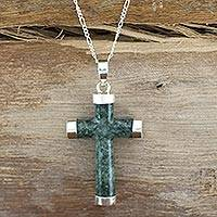 Jade cross necklace, 'Maya Hope' - Jade Cross Necklace from Guatemala
