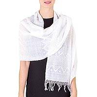 Cotton shawl, 'Santa Cruz Sierra' - Cotton Patterned Shawl from Central America