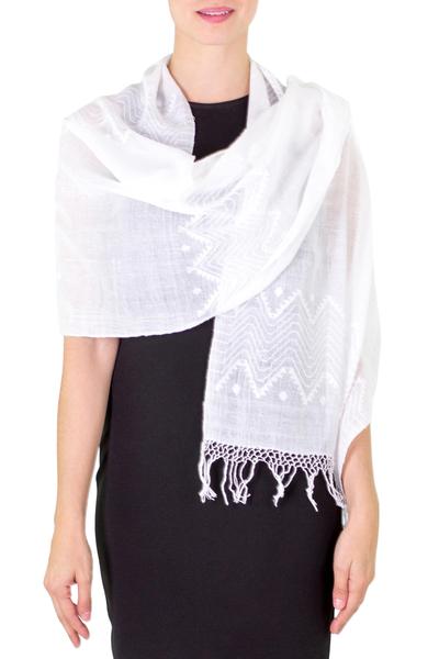 Cotton shawl, 'Santa Cruz Sierra' - Cotton Patterned Shawl from Central America