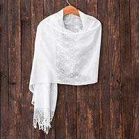 Cotton shawl, 'Nature's Wonders' - Cotton shawl