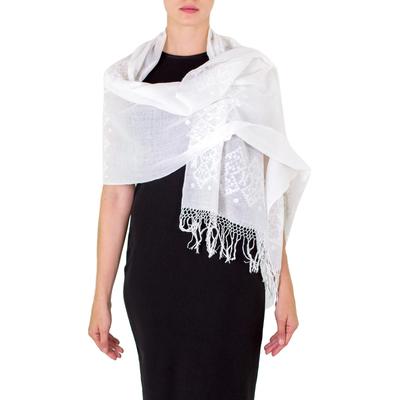 Cotton shawl, 'Natural Word' - Cotton shawl