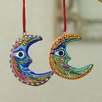 Ceramic ornaments, 'Crescent Moon' (set of 6) - Handcrafted Christmas Ceramic Ornaments (Set of 6)