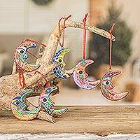 Ceramic ornaments, 'Crescent Moon' (set of 6)