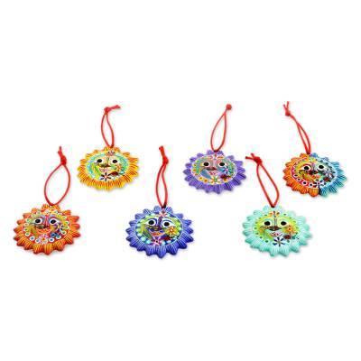 Ceramic ornaments, 'Lord of the Sun' (set of 6) - Fair Trade Christmas Ceramic Ornaments (Set of 6)