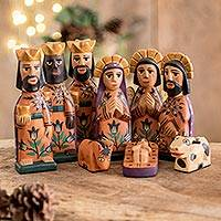 Wood nativity scene, 'Rejoice' (medium, set of 9) - Hand Painted Wood Nativity Scene (Medium, Set of 9)