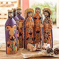Wood nativity scene, 'Rejoice' (large, set of 9)