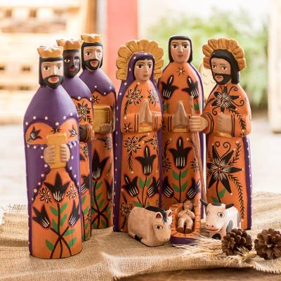 Wood nativity scene, 'Rejoice' (large, set of 9) - Wood Nativity Scene Sculpture Set of 9