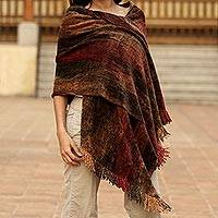 Rayon chenille shawl, 'Volcano Land' - Unique Rayon from Bamboo Chenille Shawl