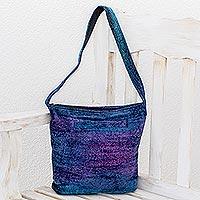 Chenille shoulder bag, 'Magical Moon' - Bamboo Chenille Bag Handmade in Guatemala