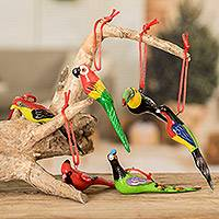 Ceramic ornaments, 'Forest Birds' (set of 6)
