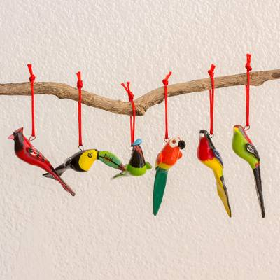 Ceramic ornaments, 'Forest Birds' (set of 6) - Central American Ceramic Bird Ornaments (Set of 6)