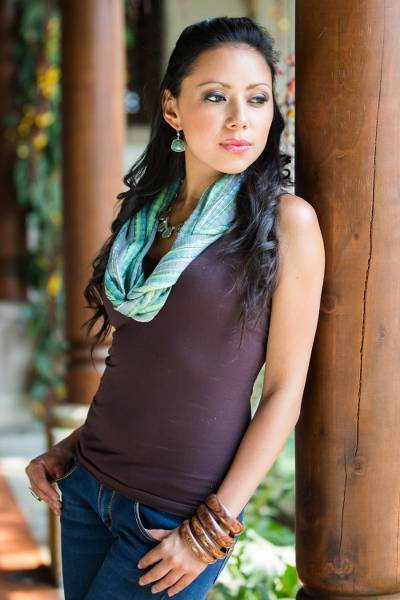 Cotton scarf, 'Atitlan Shimmer' - Artisan Hand Loomed Cotton Blend Aqua Scarf