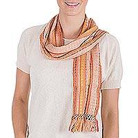 Cotton scarf, 'Sweet Shimmer' - Handcrafted Cotton Blend Scarf