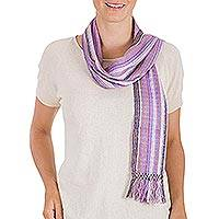 Cotton scarf, 'Orchid Shimmer' - Cotton scarf