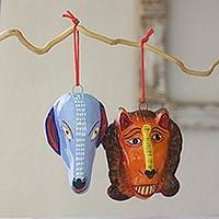 Ceramic ornaments, 'Ritual' (set of 6) - Handmade Guatemalan Ceramic Christmas Ornaments (Set of 6)