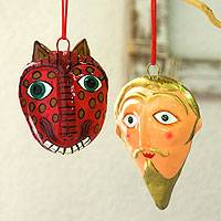 Ceramic ornaments, 'Tradition' (set of 6)