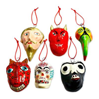 Ceramic ornaments, 'Tradition' (set of 6) - Ceramic ornaments (Set of 6)