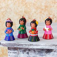 Ceramic ornaments, 'Shepherds' (set of 4) - Ceramic ornaments (Set of 4)